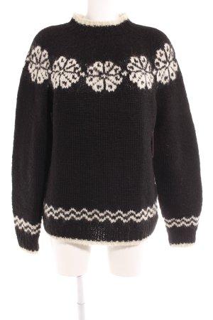 Strickpullover schwarz-weiß florales Muster Casual-Look