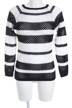 Strickpullover schwarz-weiß Streifenmuster