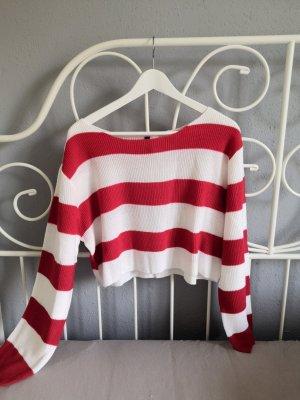 H&M Jersey de punto blanco-rojo