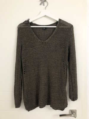 H&M V-Neck Sweater khaki-dark green