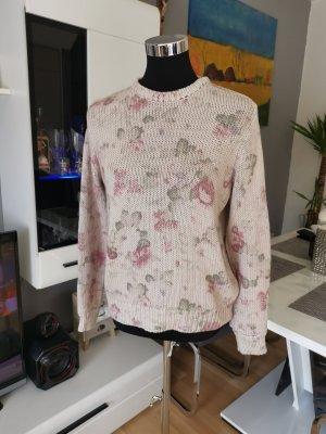 Zara Knit Coarse Knitted Sweater oatmeal-dusky pink