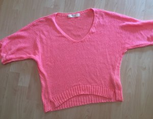 Zara Knit V-Neck Sweater neon pink-neon orange
