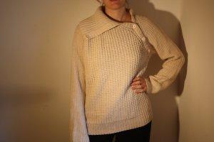 Strickpullover weiß Baumwolle oversize (bf)