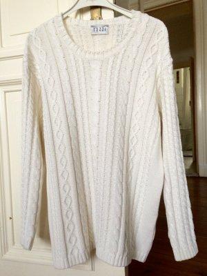 Strickpullover Weiß Zopfmuster Baumwolle Cotton Italian Tuzzi Trend Blogger