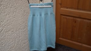 Jupe tricotée turquoise tissu mixte