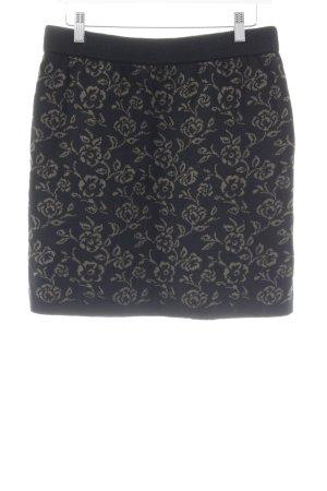 Jupe tricotée noir-ocre motif floral style décontracté