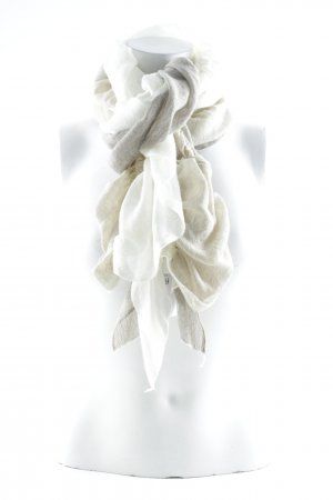 Sciarpa lavorata a maglia crema-grigio chiaro stile casual