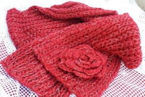 Bufanda de punto rojo oscuro-color oro tejido mezclado