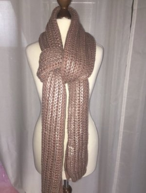 Pieces Knitted Scarf rose-gold-coloured