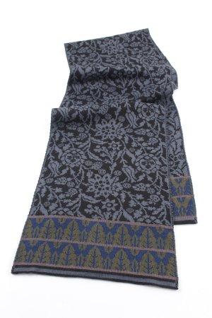 Gebreide sjaal zwart-antraciet bloemen patroon casual uitstraling