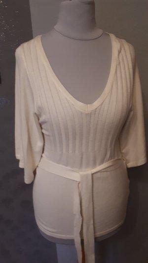 T-shirts en mailles tricotées blanc cassé