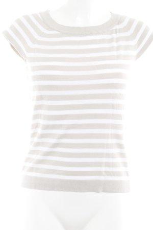 Camisa tejida beige-blanco puro estampado a rayas look casual