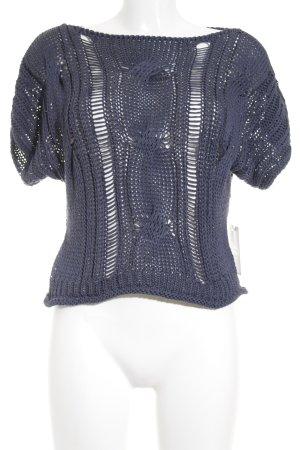Camisa tejida azul oscuro Patrón de tejido look Street-Style