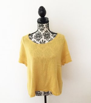 Camisa tejida amarillo-amarillo oscuro tejido mezclado