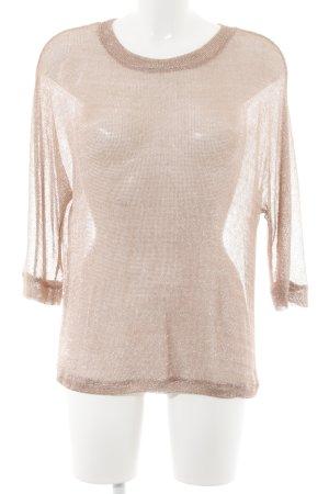 Camisa tejida color rosa dorado elegante