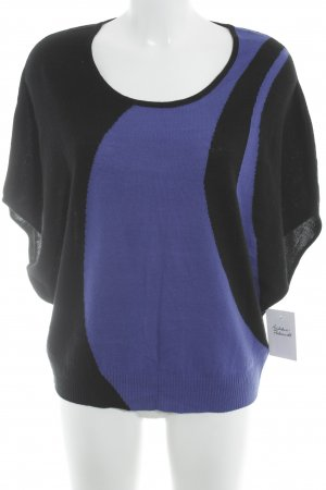 Knitted Jumper black-blue abstract pattern casual look