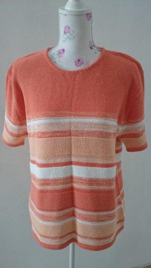 Camisa tejida blanco-naranja neón