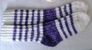 Chapeau en tricot blanc-violet