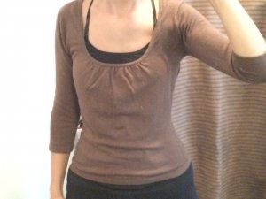 H&M Knitted Top light brown mixture fibre