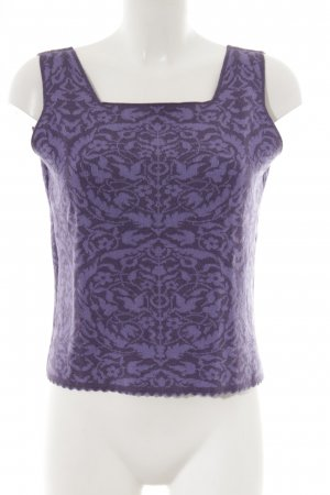 Knitted Top grey violet-purple flower pattern
