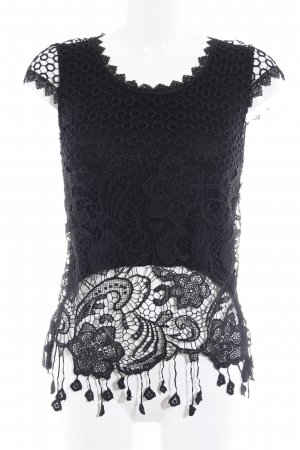 Knitted Top black abstract pattern Gypsy style