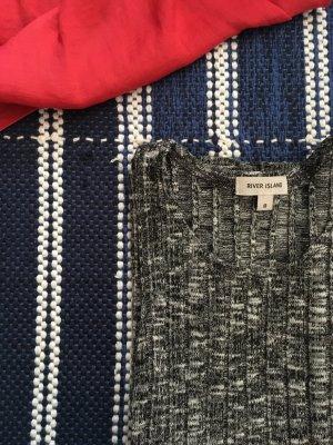 Stricktop, Shirt, Grau, Meliert