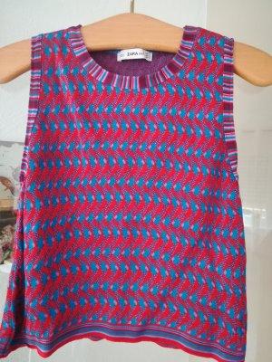 Zara Top lavorato a maglia magenta-blu