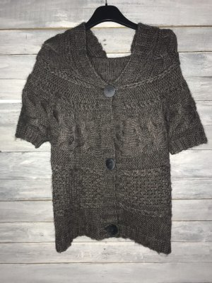 King Kong Cardigan a maniche corte marrone scuro
