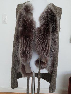Smanicato di pelliccia talpa-marrone-grigio Tessuto misto