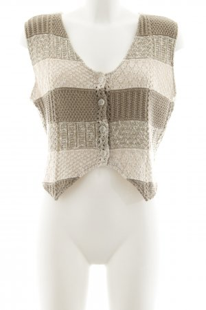 Knitted Vest grey brown-beige striped pattern casual look