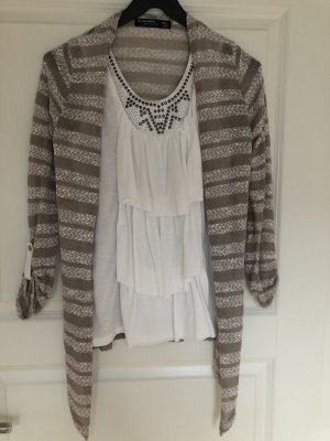 Blind Date Knitted Vest taupe-white