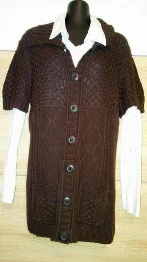 Cecil Cárdigan de manga corta marrón-marrón oscuro tejido mezclado