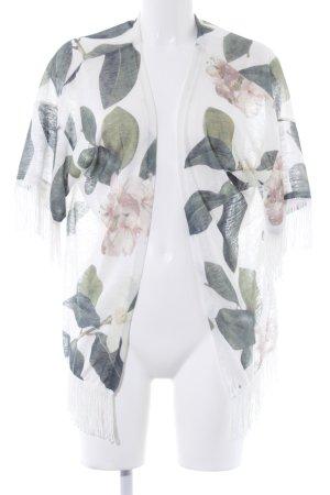 Chaleco de punto blanco-verde pálido estampado floral look casual