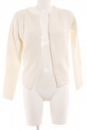 Knitted Vest natural white mixed pattern casual look