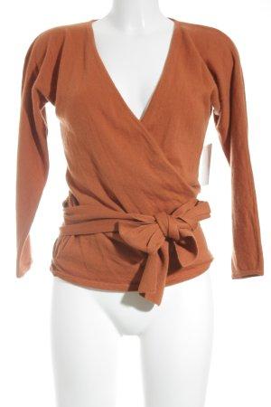 Cache-cœur en tricot orange style décontracté