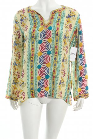 Strings Langarm-Bluse dunkelgelb-magenta florales Muster Paillettenverzierung