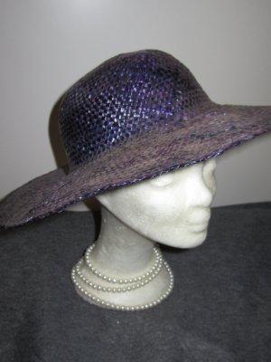 Vintage Cappello di paglia marrone-viola-blu