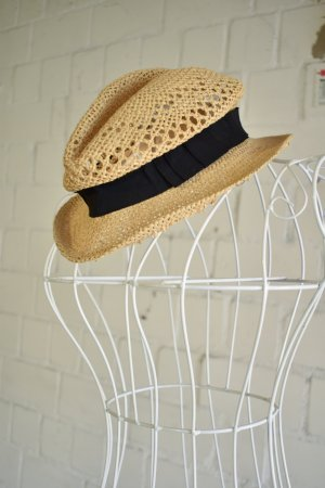 H&M Straw Hat beige-black mixture fibre
