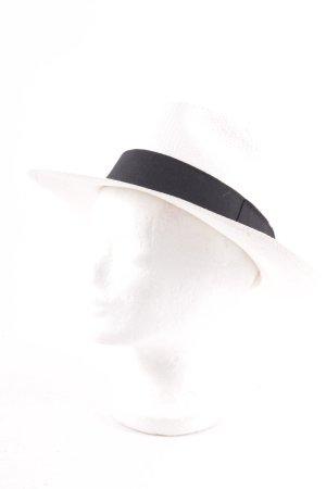 Strohhut hellbeige-schwarz klassischer Stil