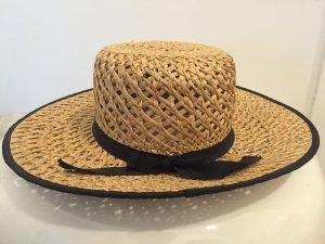 Chapeau de paille brun sable-noir