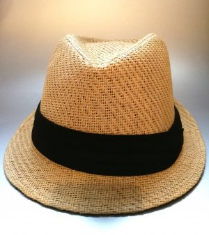 Straw Hat black-sand brown synthetic fibre