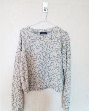 Strukturierter Grau- Weißer Cropped Pullover