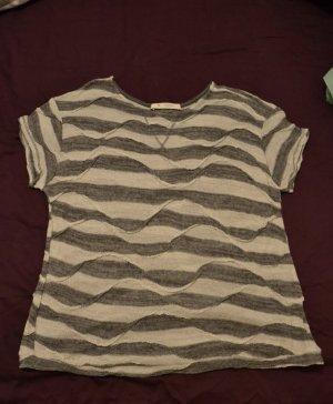 strukturiertes Streifen-Shirt von monari in grau/winterweiß