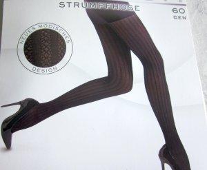 Strumpfhose 60 DEN underwear schwarz h m Pants Lochmuster gestreift Streifen Muster modisches Design mit Zwickel  Neu OVP 36 38 XS S