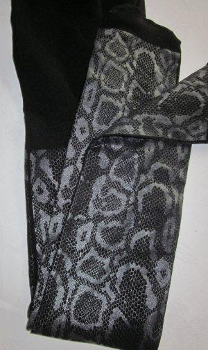 Strumpfhose animal Print Schlange snake schwarz gelackt lackartige Beschichtung dehnbar NEU 34 36 38 S