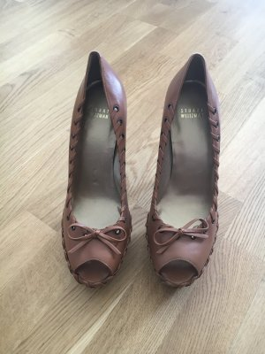 Stuart weitzman Peep Toe Pumps cognac-coloured leather