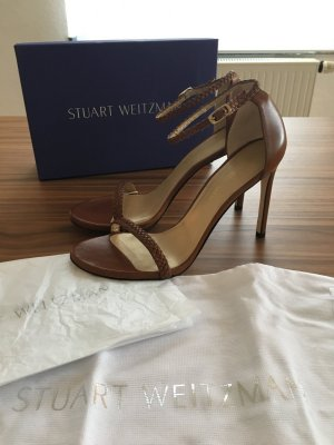 Stuart weitzman Strapped High-Heeled Sandals cognac-coloured leather