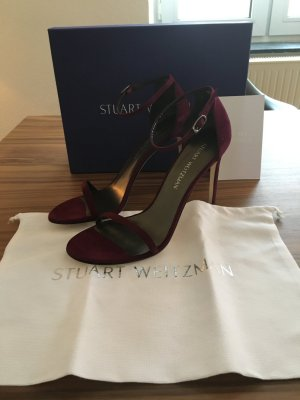 Stuart weitzman Strapped High-Heeled Sandals bordeaux suede