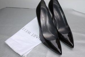 Stuart Weitzman wunderschöne Pumps Silettos schwarz Lack Leder komplett 39,5 neu ovp