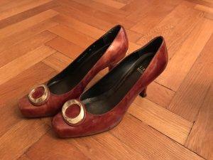 Stuart Weitzmann Vintage Boho Pumps High Heels 38 39 gold braun